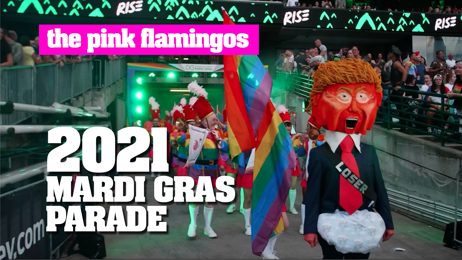 Watch The Pink Flamingos Mardi Gras Parade Entry.